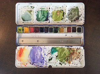 Winsor and Newton water colour cakes box with cover used as palette by Manju Panchal