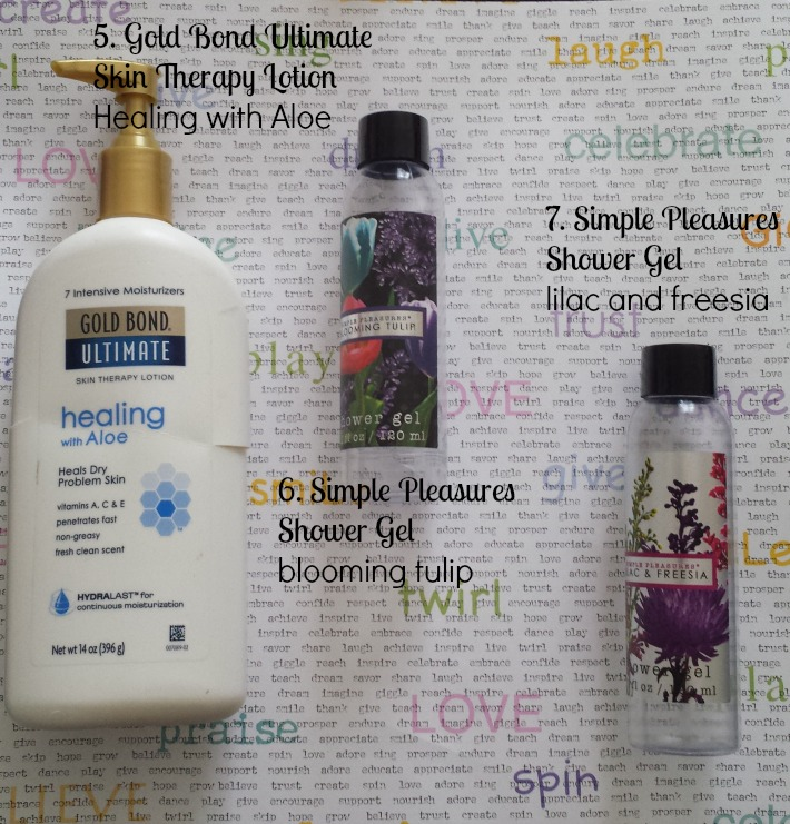 empties, goldbond ultimate, dry skin, simple pleasures, shower gel, review