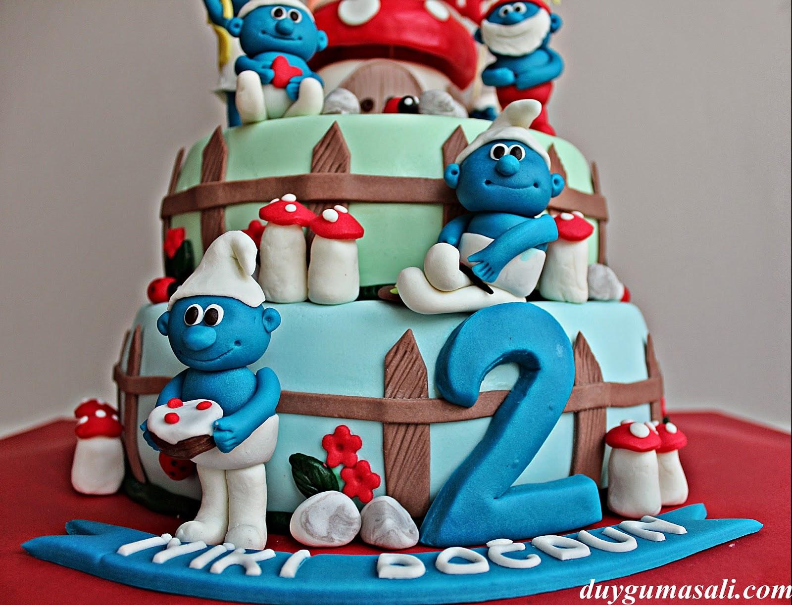 şirinler doğum günü pastası