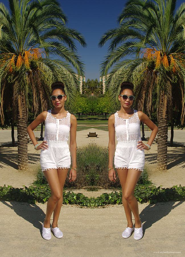 Celeblook White Lace Pom Pom Playsuit