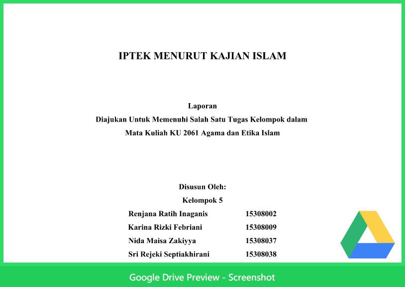 Contoh Makalah Agama Tentang Teknologi Iptek Menurut Kajian Islam Berkas Kurikulum 2013