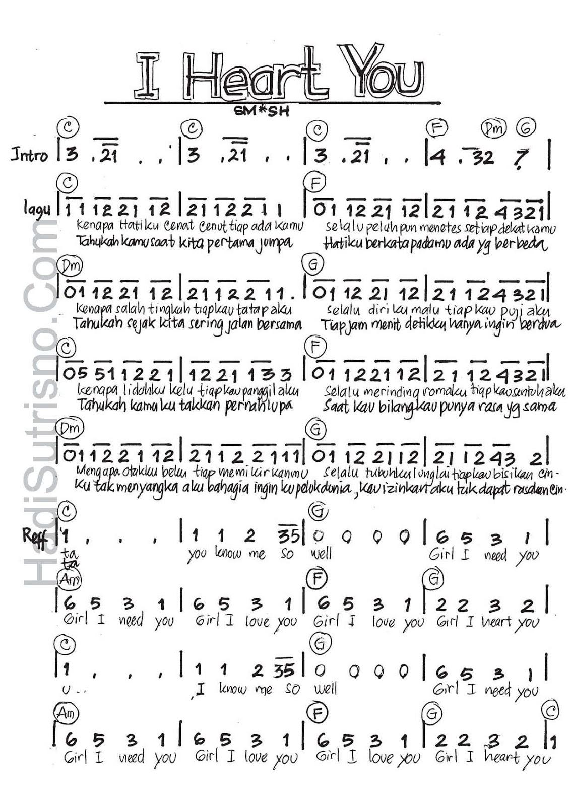 ... SMASH - I Heart U . Lengkap dengan not angka, akor , dan lirik lagu