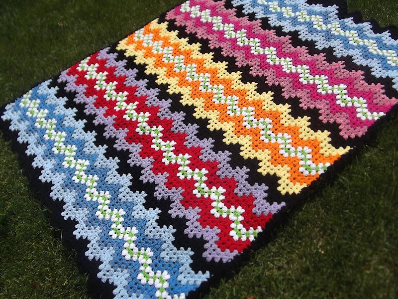 Crochet Afghan Patterns For Guys : Apple Blossom Dreams: Man Cave Afghan Ta Dah!