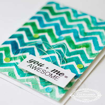 handmade card with watercolor chevron background with jane's doodles stamps