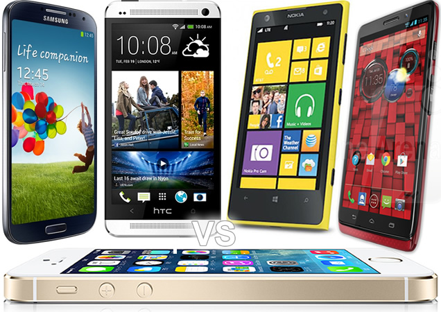 iPhone 5S vs Galaxy S4, htc One, Nokia Lumia 1020, Motorola Droid Ultra