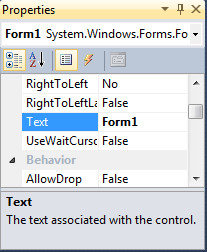 Window Properties Visual Basic 2010