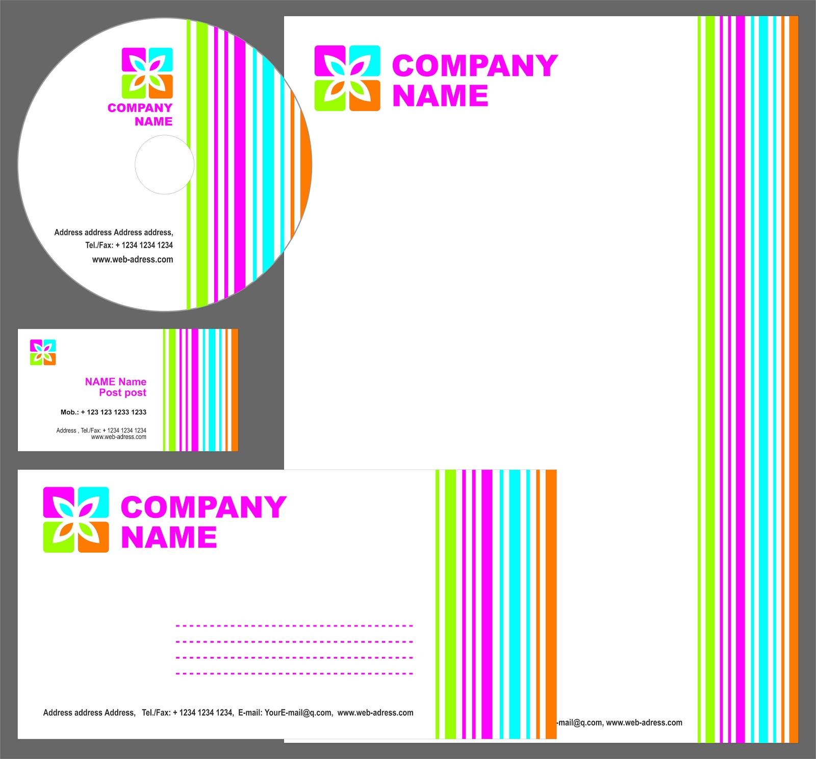 Template Kartu Nama Plus Kop Surat Amplop Label Cd