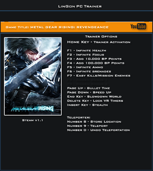 Metal Gear Rising Revengeance v1.1 Trainer +14 [LinGon]