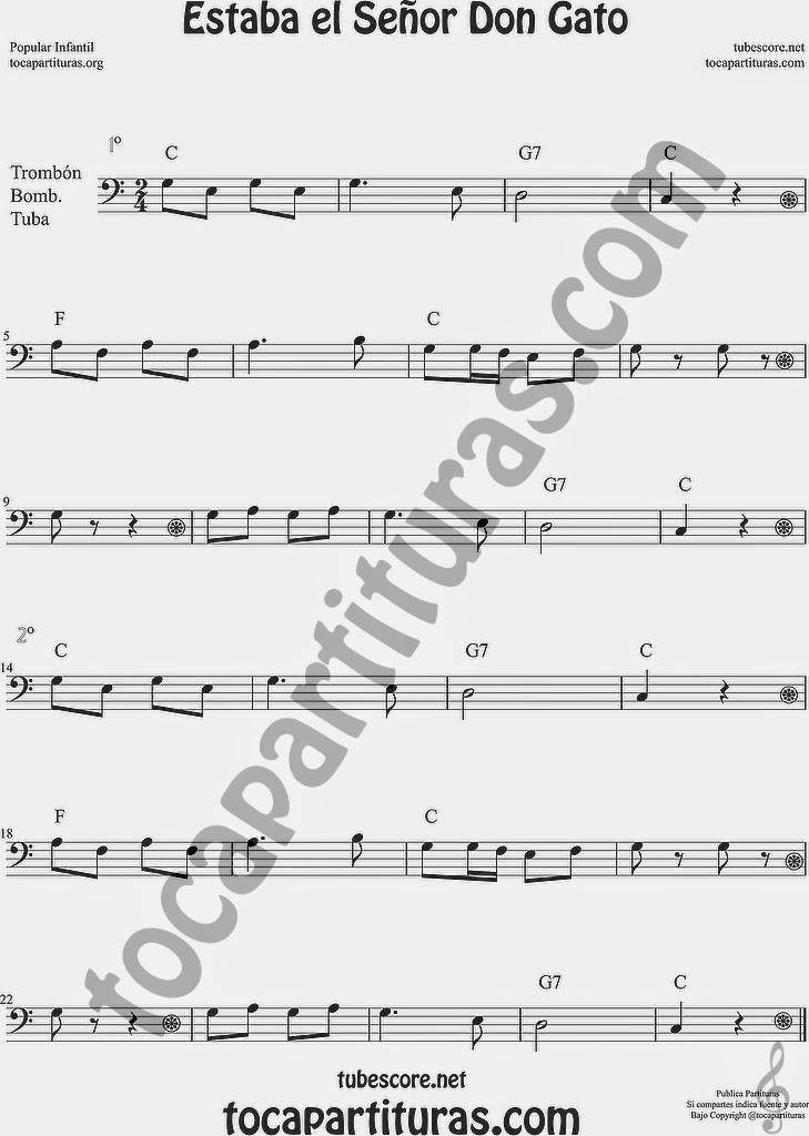 Estaba el Señor Don Gato Partitura de Trombón, Tuba Elicón y Bombardino Sheet Music for Trombone, Tube, Euphonium Music Scores