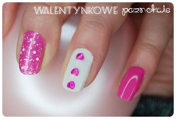 różowe paznokcie walentynki