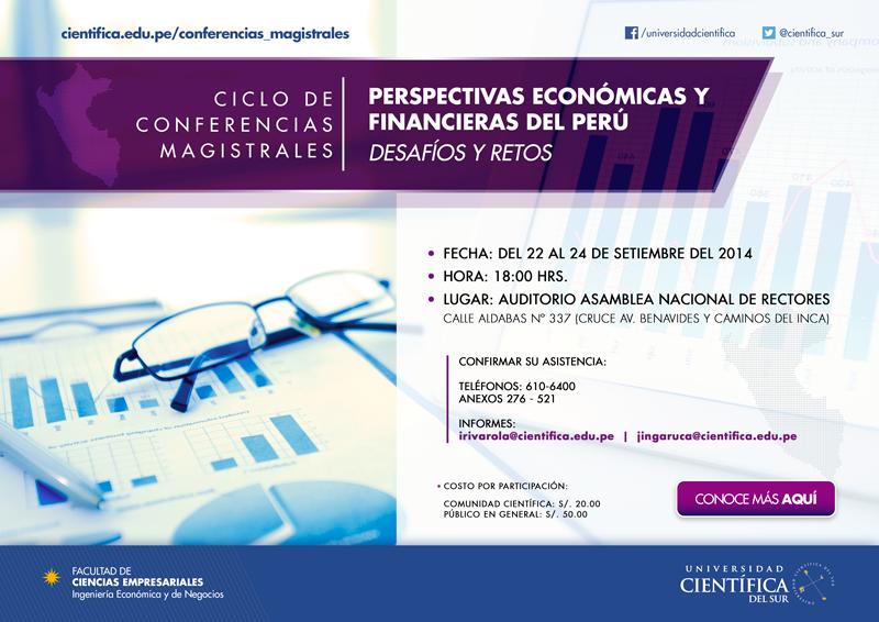 Conferencias dias 22, 23 y 24 de setiembre sobre la perspectiva de la economía peruana
