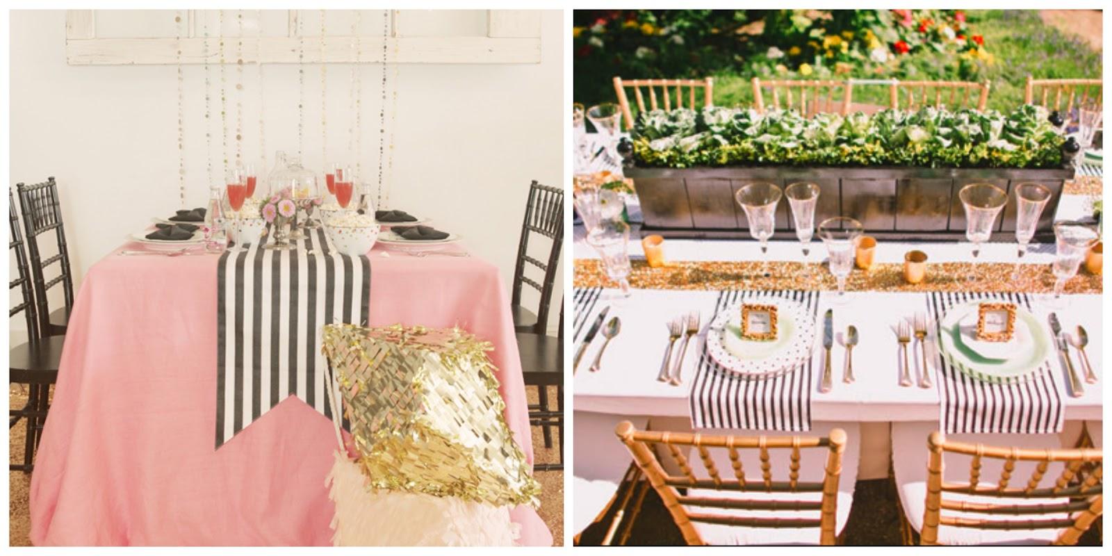 Colores para la mesa blanco y negro a rayas for Decoracion mesas fiestas