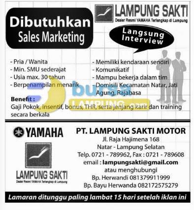 Lowongan Kerja Lampung 30 mei 2014 PT. Lampung Sakti Motor