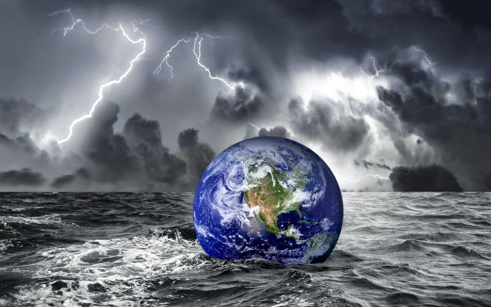 Fantasie achtergrond met globe in het water