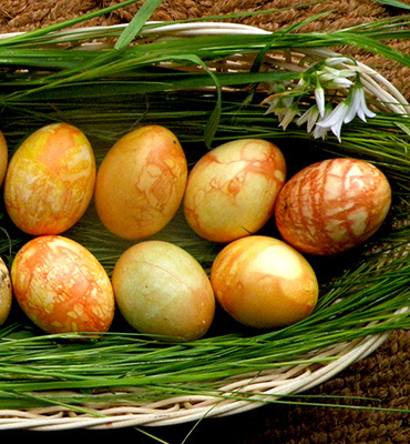 Basket of patterned dyed eggs