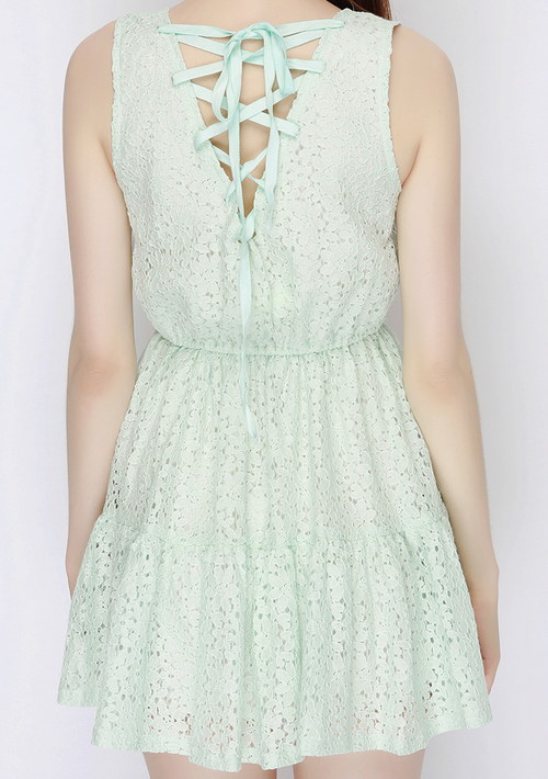 Eyelet Lace Up Back Dress