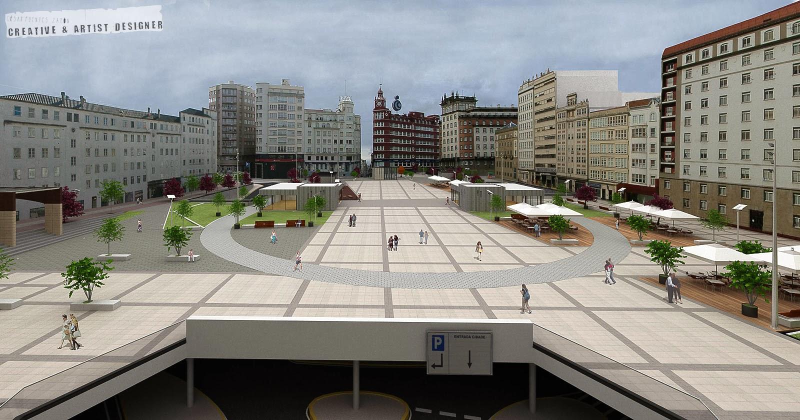 César Fuentes Infografía Plaza España Ferrol