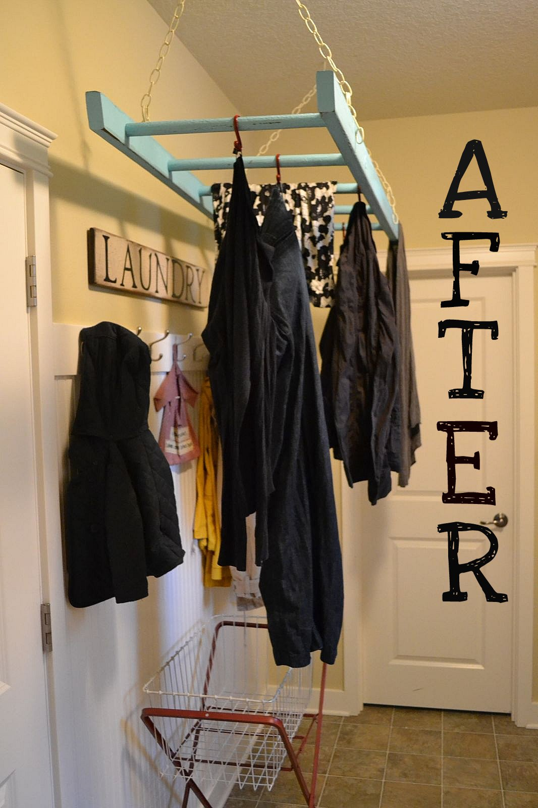 Remodelaholic Reuse Ladder Into A Laundry Rack Idea