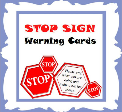 Stop Sign warning cards for classroom management