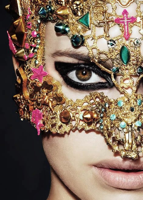 bejeweled and embellished mask