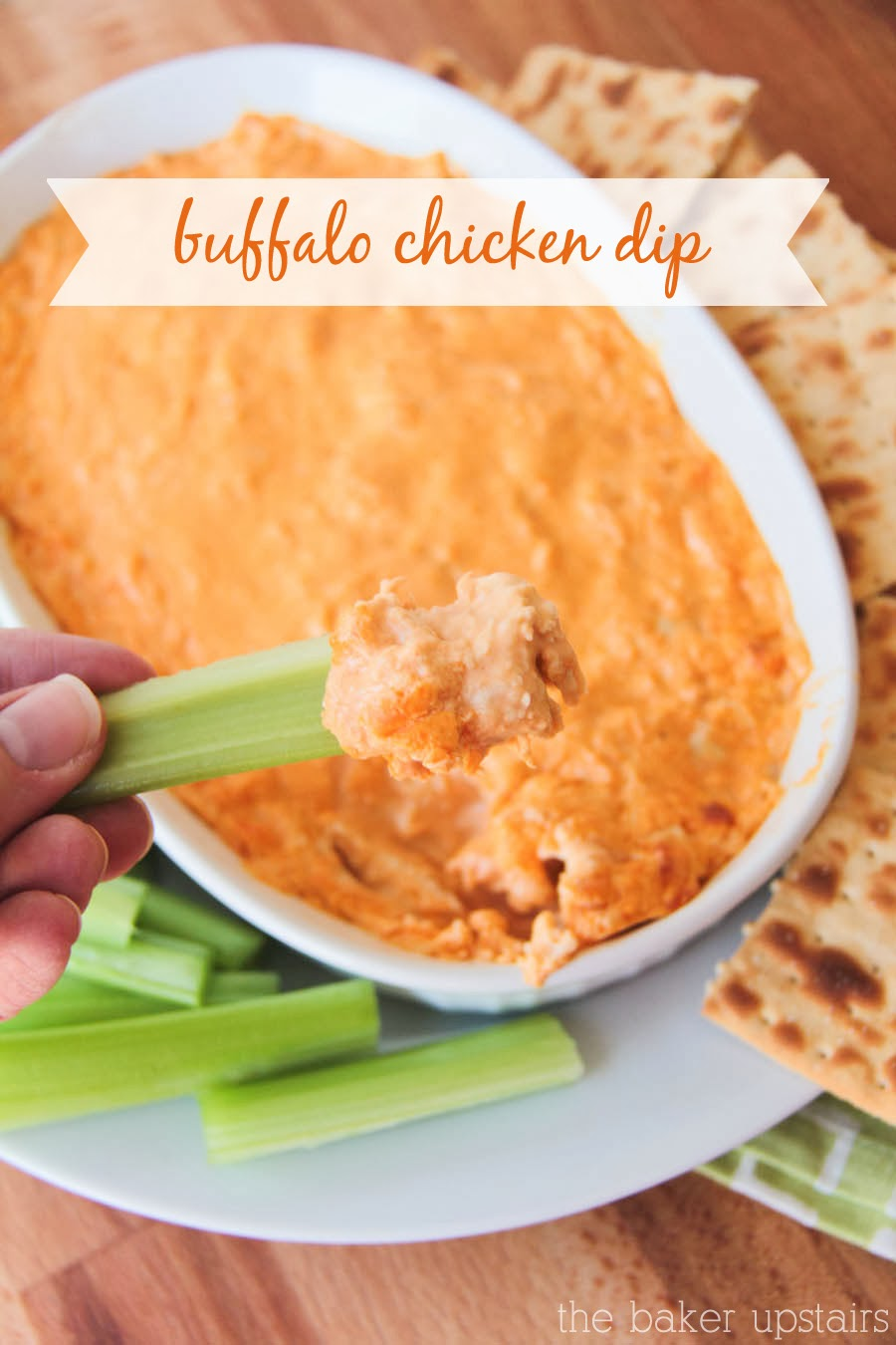 This delicious cheesy and spicy buffalo chicken dip is so easy to make and is a hit at any party!