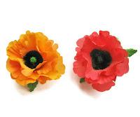 silk poppy, red poppy, orange poppy, poppy hair clip, poppy brooch, silk flowers, hand painted floral brooches