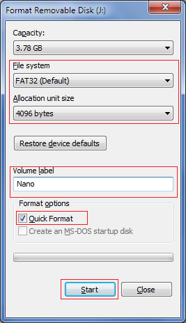 Pen drive format options