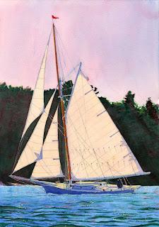 """Sailing A Friendship Sloop Off Farnham Point - Watercolor 14"""" x 20"""""""