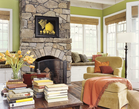 A color specialist in charlotte how to choose color to for French country stone fireplace