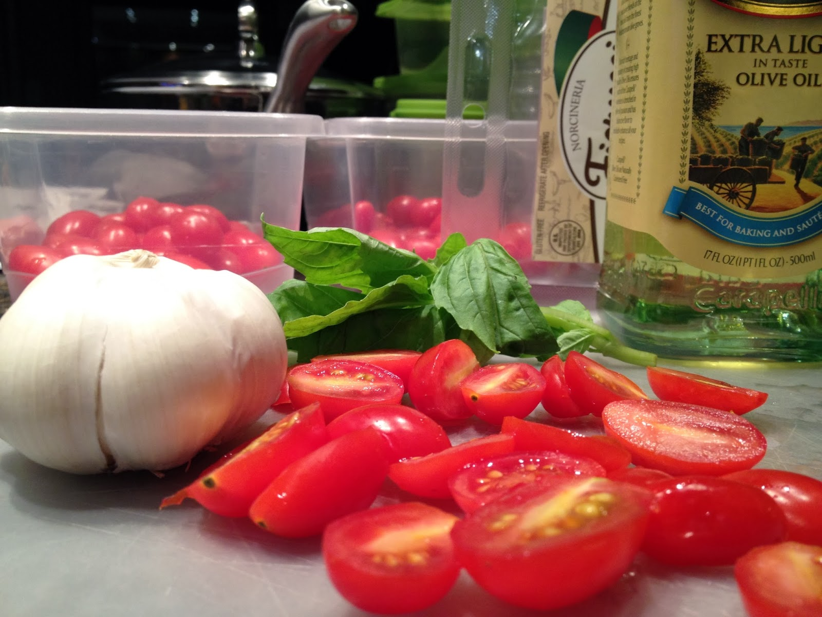 ... Cooking: Angel Hair Pasta with Cherry Tomatoes, Basil, and Prosciutto