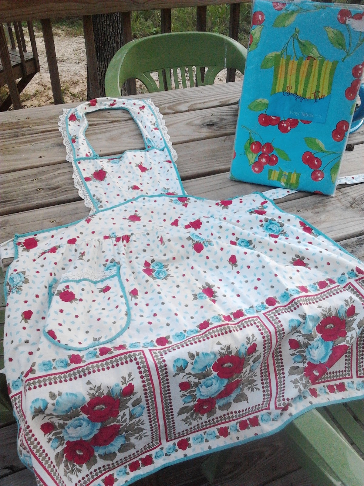 A golf cart with horns a cherry tablecloth mom and her drill a vintage apron in a cute pattern and this vinyl tablecloth with cherries only 8 i am thinking that i will use the tablecloth to cover a seat cushion jeuxipadfo Choice Image