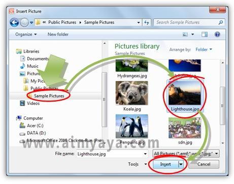 Gambar: Memilih gambar backround untuk slide Microsoft Powerpoint
