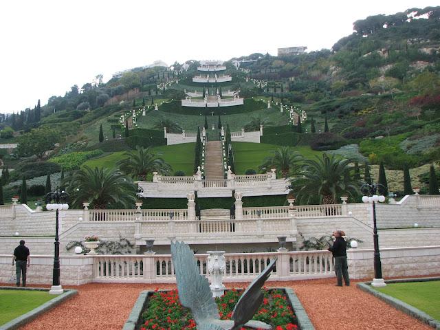 Escadaria no Monte Camelo na cidade de Haifa em Israel, Canãa
