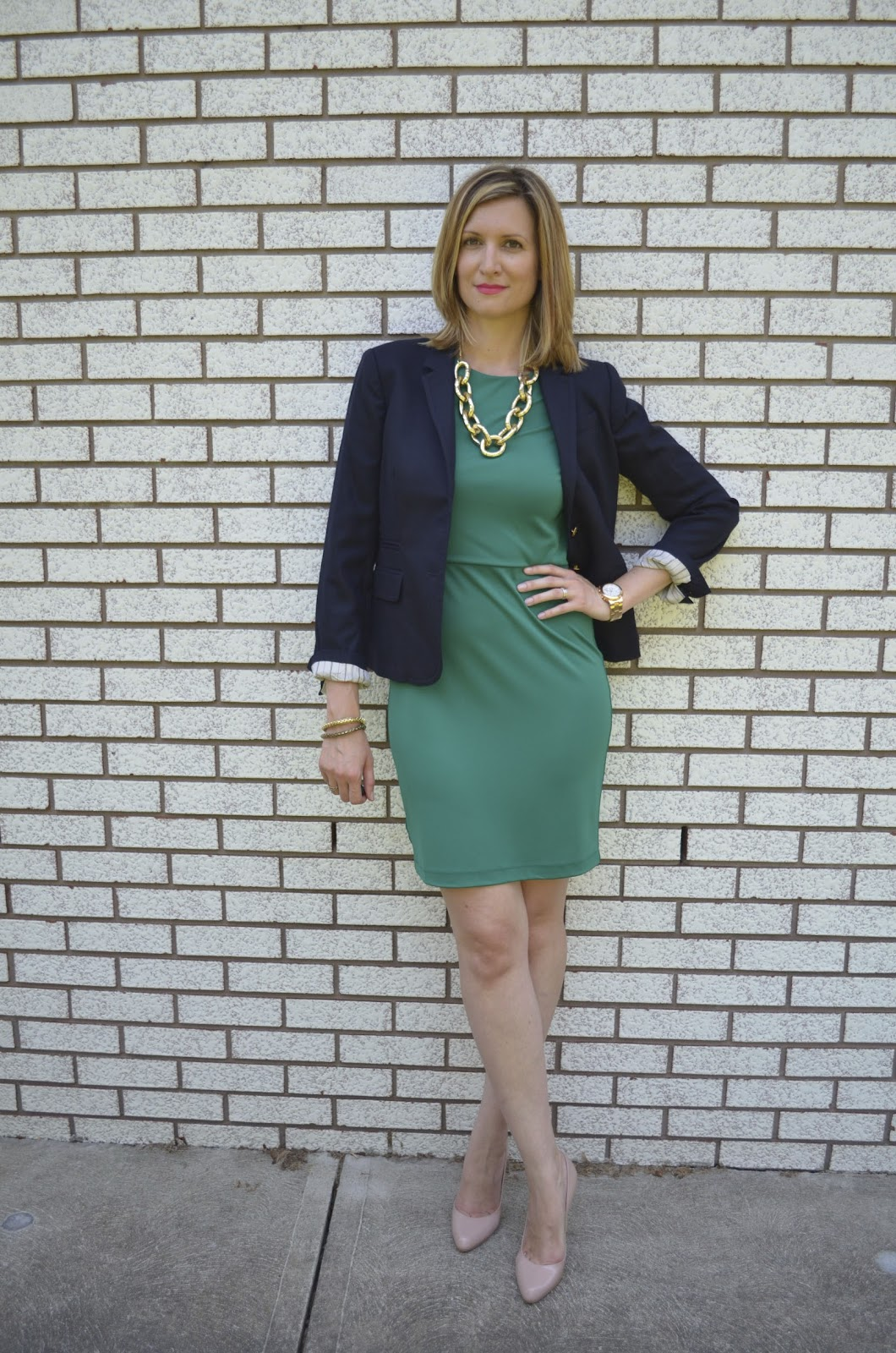 Black dress navy blazer -  Had To Pair It With Navy Blazer Makes It That Much More Office Ready Black Grey Or Even Brown Would Work As Well You All Know How Much I Love Navy