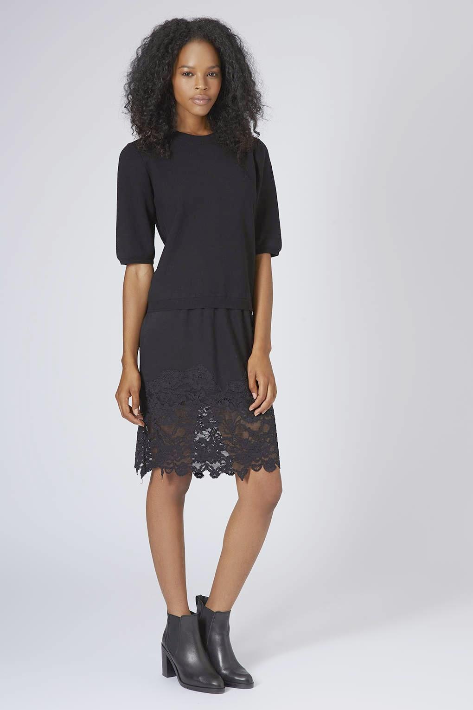 midi black dress topshop