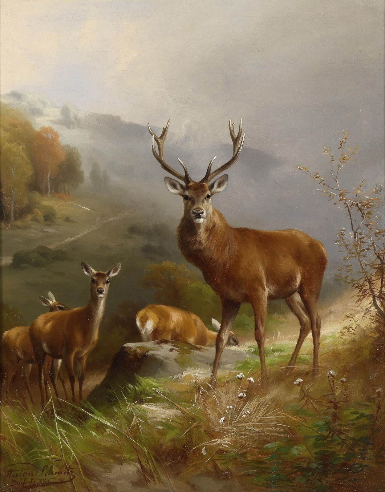 A painting of a herd of deer