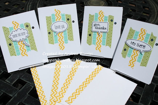 Set of clean and simple cards featuring washi tape and the Just Sayin' stamp set.