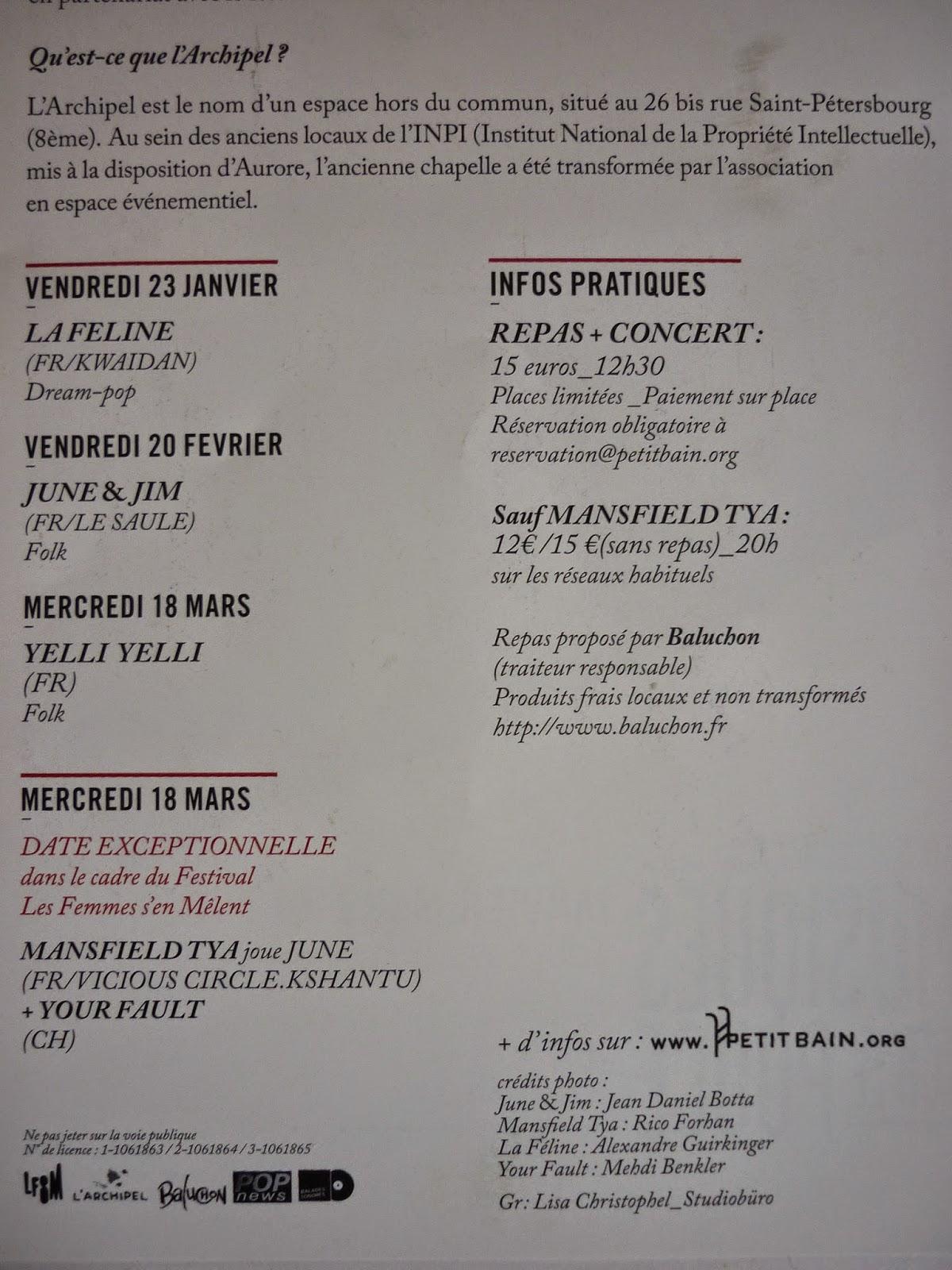 L'Archipel à Paris - déjeuner concert petit bain