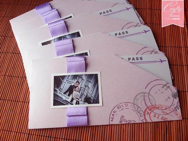 Pastel Purple Boarding Pass Wedding Invitation Card Save The date photo