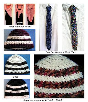 crochet neck ties, shawl, hats