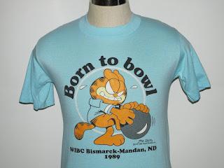 VTG 80`s GARFIELD T Shirt 50/50 True Bowling cats WIBC Fits SM