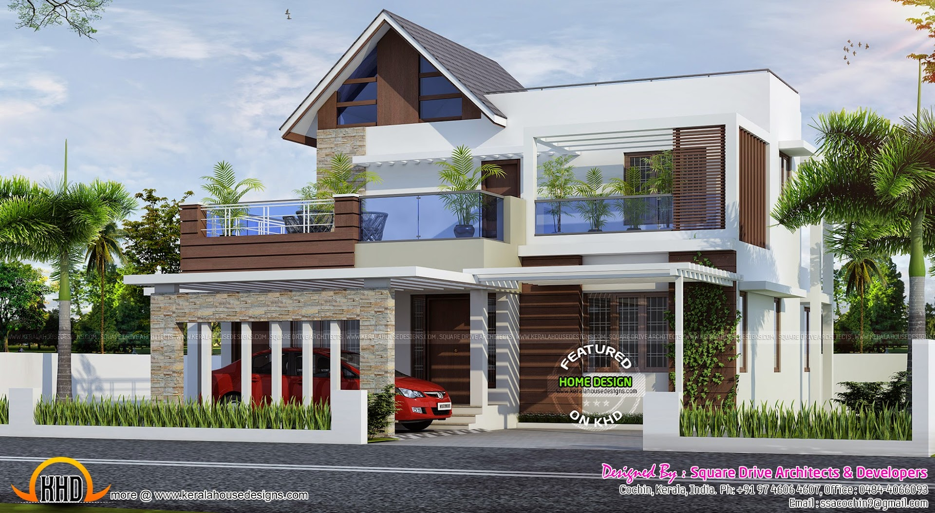 February 2015 kerala home design and floor plans for Contemporary modern style house plans