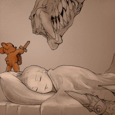 Bamse forsvarer sovende pige mod drømmens uhyre