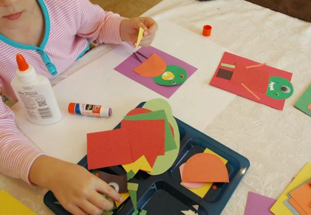 Kindergarten paper monster craft for Halloween