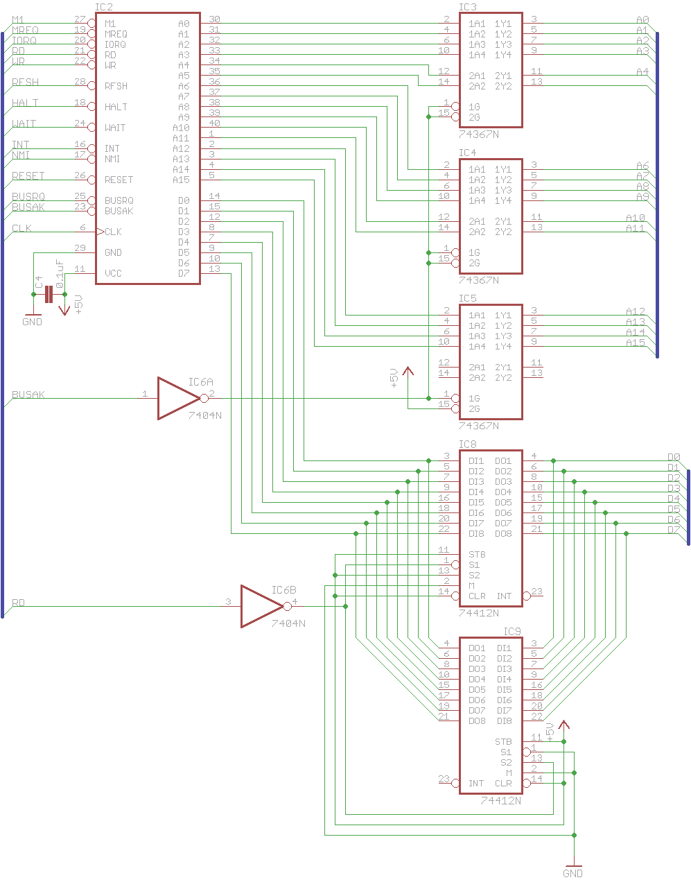 Techno Masochism Z80 Computer Bus Buffering Rev 1 Buffer Circuit Schematic Diagram Once I Got To Building The On Breadboard In Anticipation Of My Initial Led Test Started Realize That Chip Count Was Going Be Very