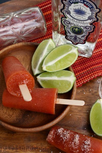 Sangrita Paletas (Tomato-Tequila Ice Pops) | www.girlichef.com