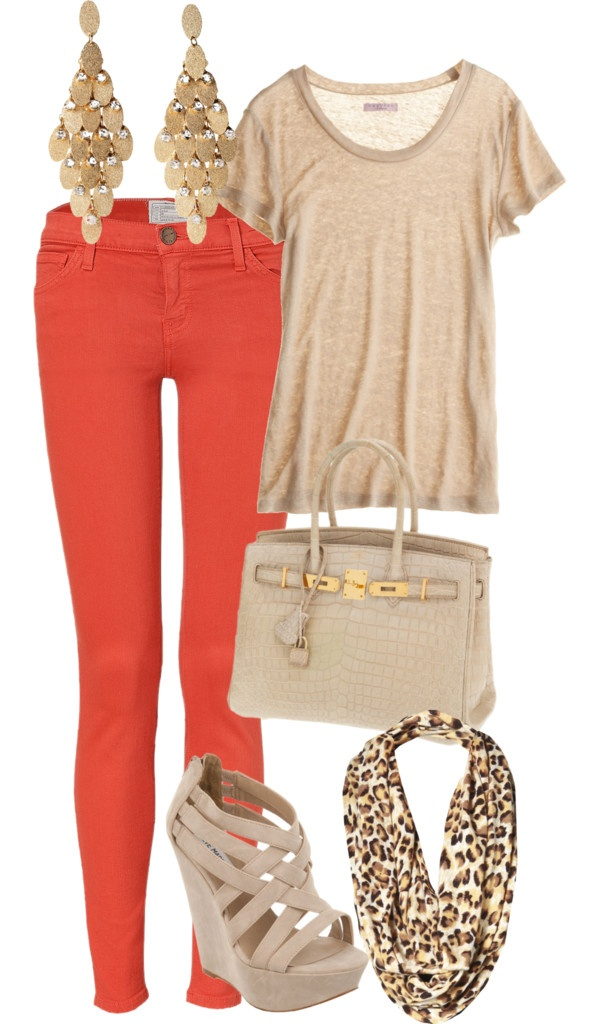 Pumpkin spice and nude outfit for ladies