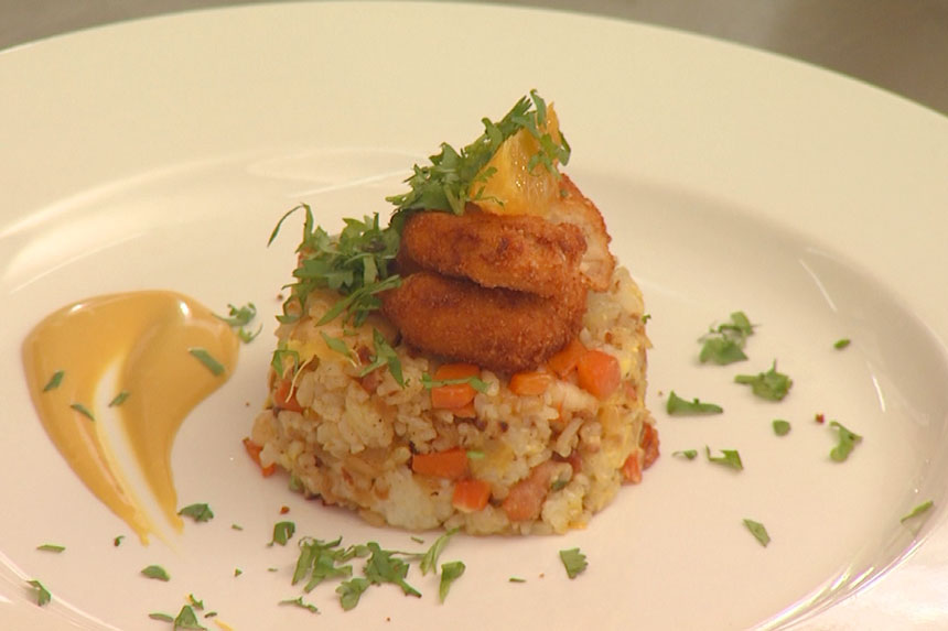 Festive Rice with Nuggets Recipe