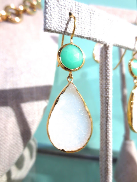 pink druzy earrings at NYIGF 2013