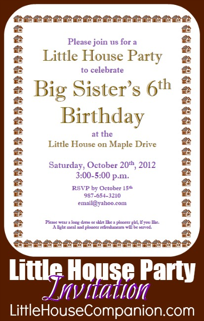 Little House birthday party invitation.